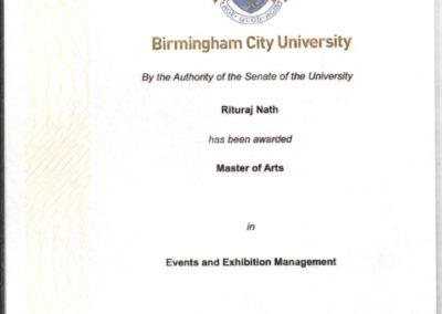 Certificate by BCU