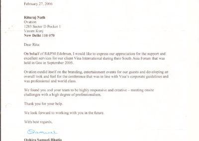 Appreciation Letter by Edelman