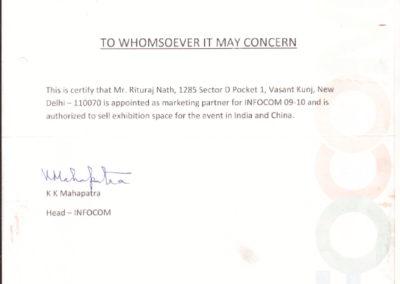 Letter by INFOCOM