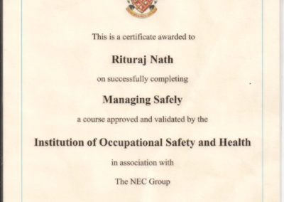 Certificate by IOSH