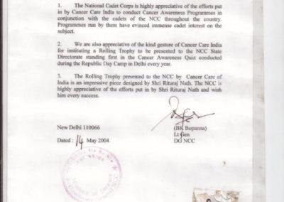 Appreciation Letter by NCC